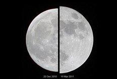 Συγκριτική απεικόνιση της «σούπερ σελήνης» της 19ης Μαρτίου του 2011 με μια «μεση» πανσέληνο