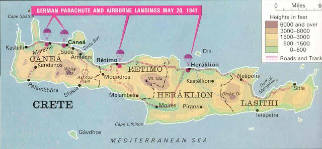 Xάρτης της Κρήτης με τα σχεδιάγραμματα της αεροπορικής επίθεσης των Γερμανών