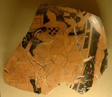 Εορτασμός των Αδωνίων. Τμήμα ερυθρόμορφου αττικού λέβητα, 430-420 π.Χ.