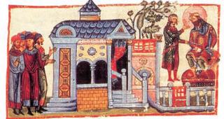 Δυνατός καθισμένος σε θρόνο μπροστά στο σπίτι του , 11ος αιώνας (βιβλιοθήκη Βατικανού)